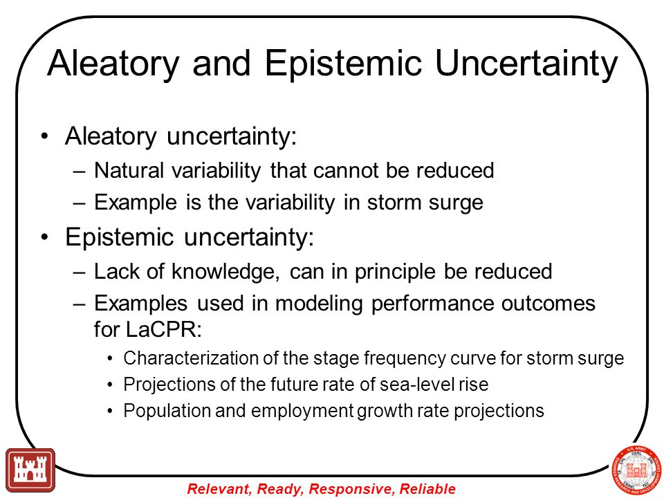 Aleatory and Epistemic Uncertainty Aleatory uncertainty: –Natural variability that cannot be reduced –Example is the variability in storm surge Epistemic uncertainty: –Lack of knowledge, can in principle be reduced –Examples used in modeling performance outcomes for LaCPR: Characterization of the stage frequency curve for storm surge Projections of the future rate of sea-level rise Population and employment growth rate projections