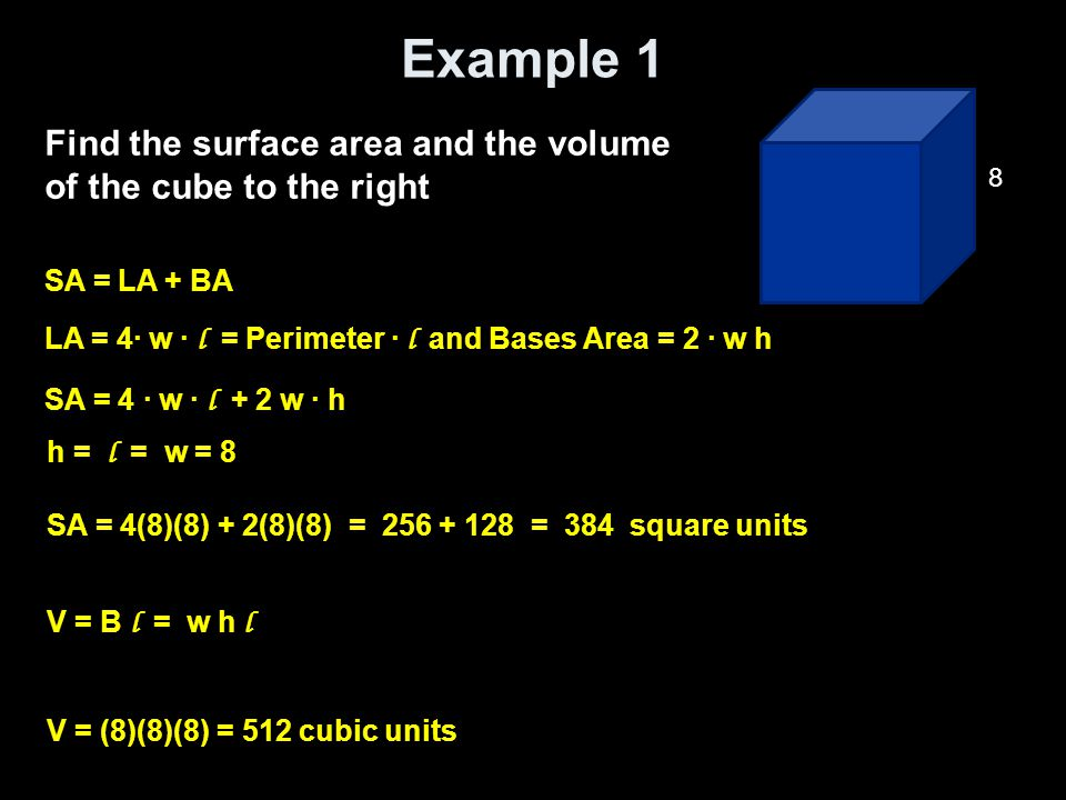 Example 2 Find the surface area and the volume of the rectangular prism to the right SA = LA + BA LA = 2(w+h) · l = Perimeter · l and Bases Area = 2 · w h SA = 2(w · h) + 2(h · l ) + 2 (w · h) h = 6, l = 10 and w = 4 SA = 2(4)(10) + 2(6)(10) + 2(4)(6) = 80 + 120 + 48 = 248 square units V = B l = w h l V = (4)(6)(10) = 240 cubic units 10 4 6