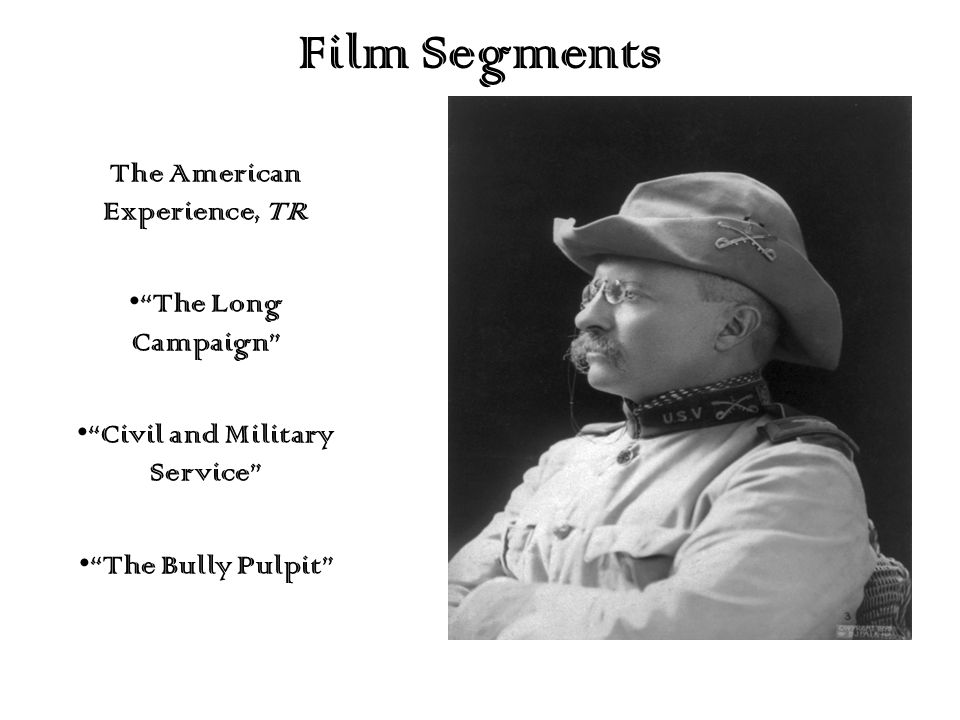 "Film Segments The American Experience, TR ""The Long Campaign"" ""Civil and Military Service"" ""The Bully Pulpit"""