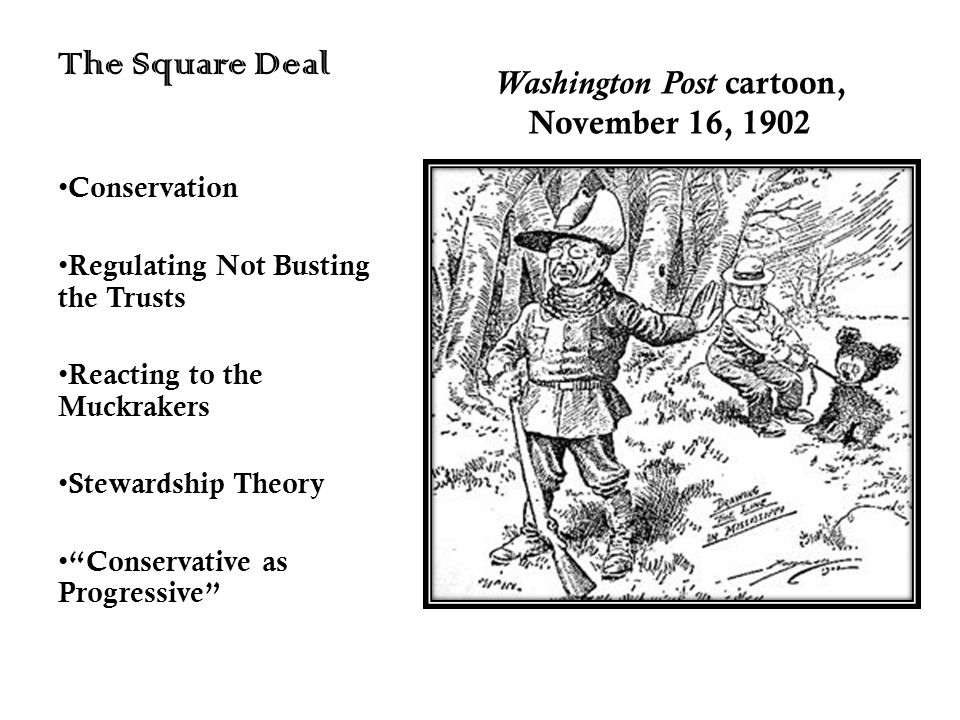 Washington Post cartoon, November 16, 1902 The Square Deal Conservation Regulating Not Busting the Trusts Reacting to the Muckrakers Stewardship Theor