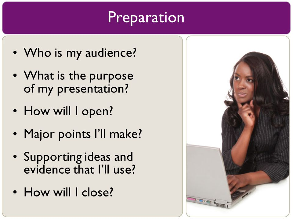 Who is my audience? What is the purpose of my presentation? How will I open? Major points I'll make? Supporting ideas and evidence that I'll use? How