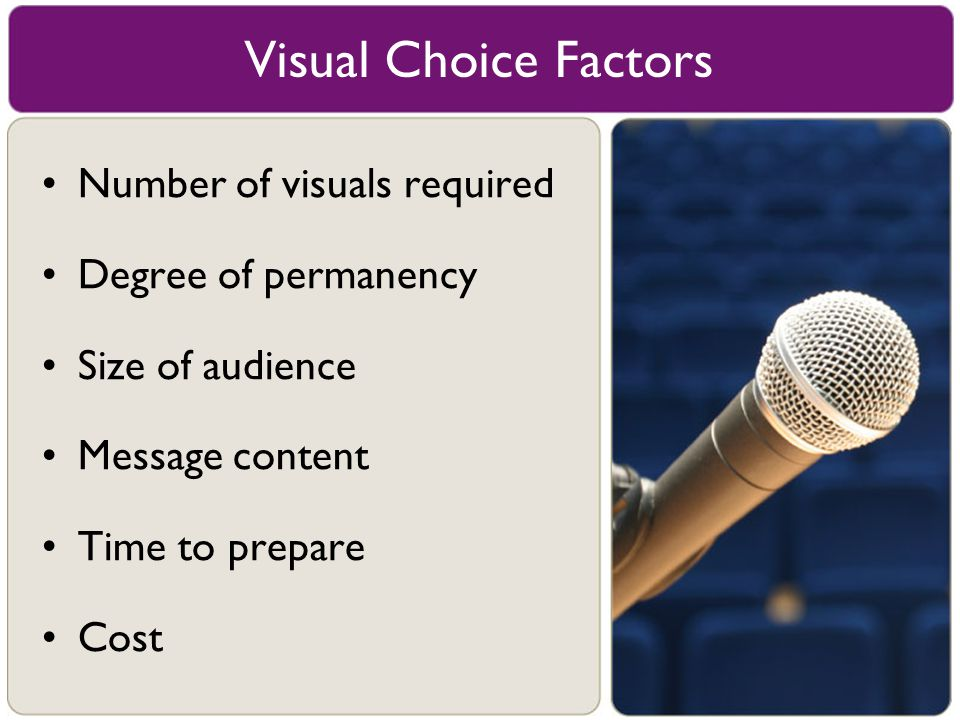 Number of visuals required Degree of permanency Size of audience Message content Time to prepare Cost Visual Choice Factors