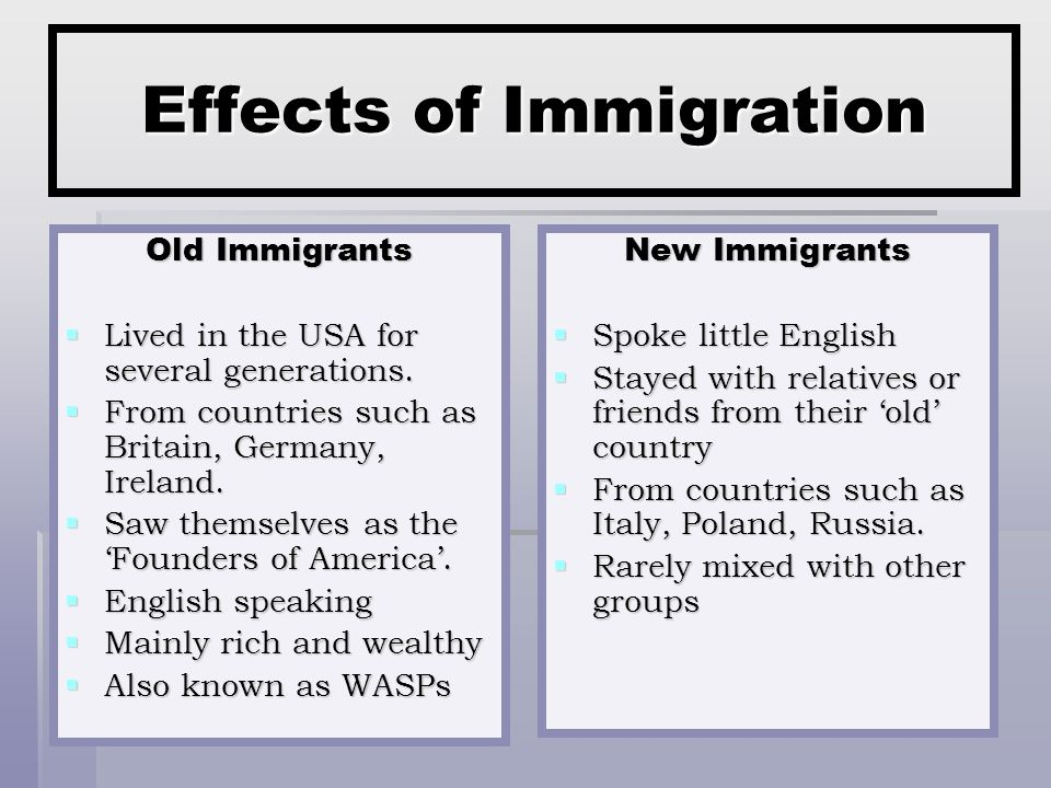 Effects of Immigration Old Immigrants  Lived in the USA for several generations.