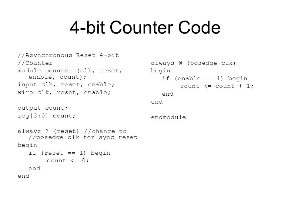 4-bit Counter Code //Asynchronous Reset 4-bit //Counter module counter (clk, reset, enable, count); input clk, reset, enable; wire clk, reset, enable;