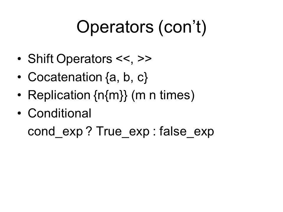 Operators (con't) Shift Operators > Cocatenation {a, b, c} Replication {n{m}} (m n times) Conditional cond_exp .