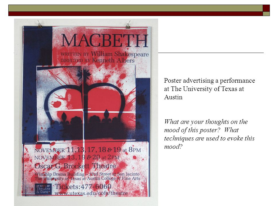 Poster advertising a performance at The University of Texas at Austin What are your thoughts on the mood of this poster? What techniques are used to e