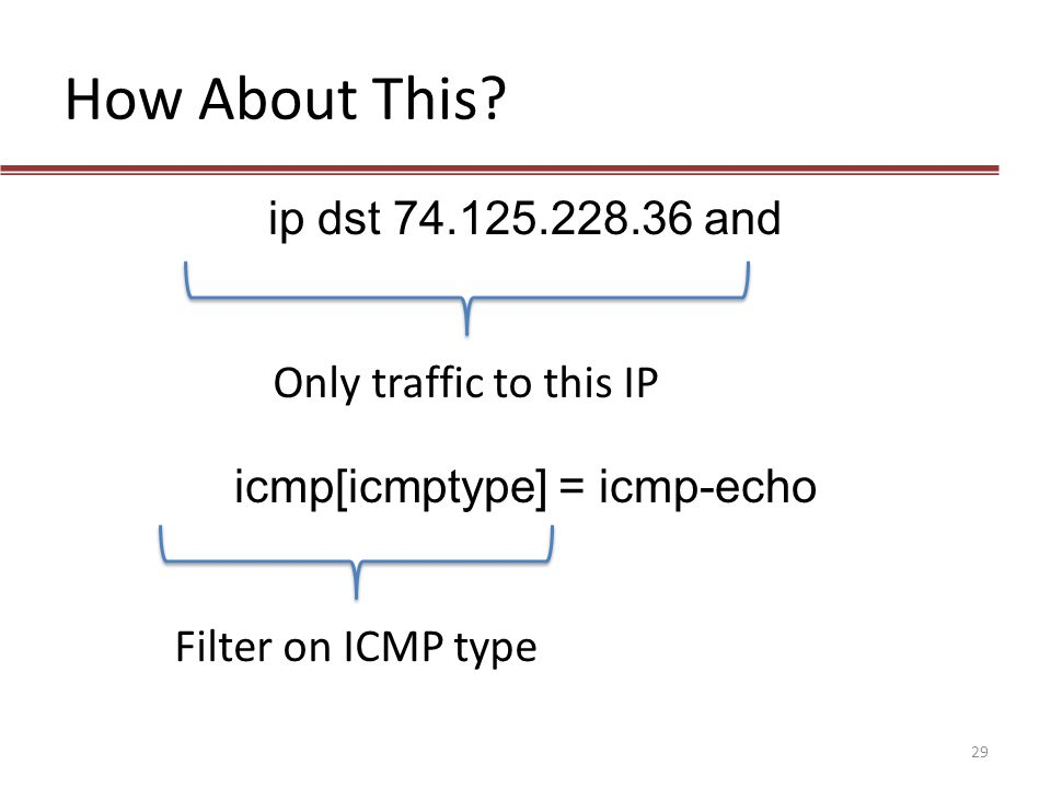 How About This? ip dst 74.125.228.36 and icmp[icmptype] = icmp-echo Only traffic to this IP Filter on ICMP type 29