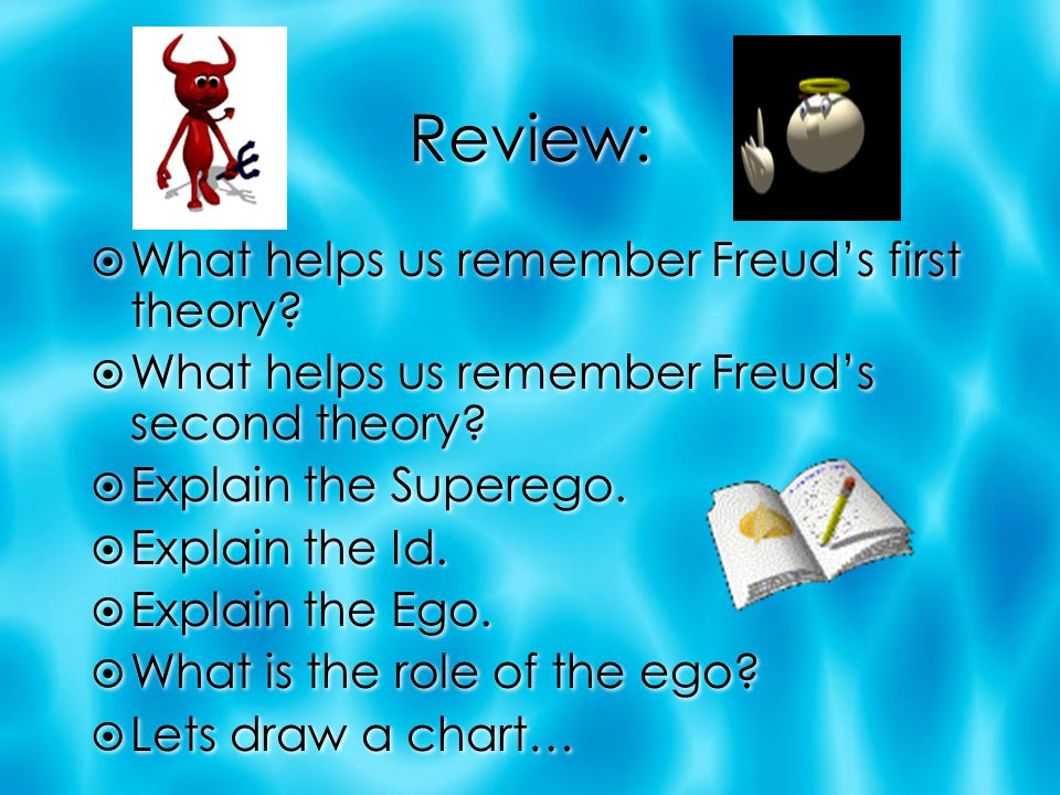Review:  What helps us remember Freud's first theory?  What helps us remember Freud's second theory?  Explain the Superego.  Explain the Id.  Exp