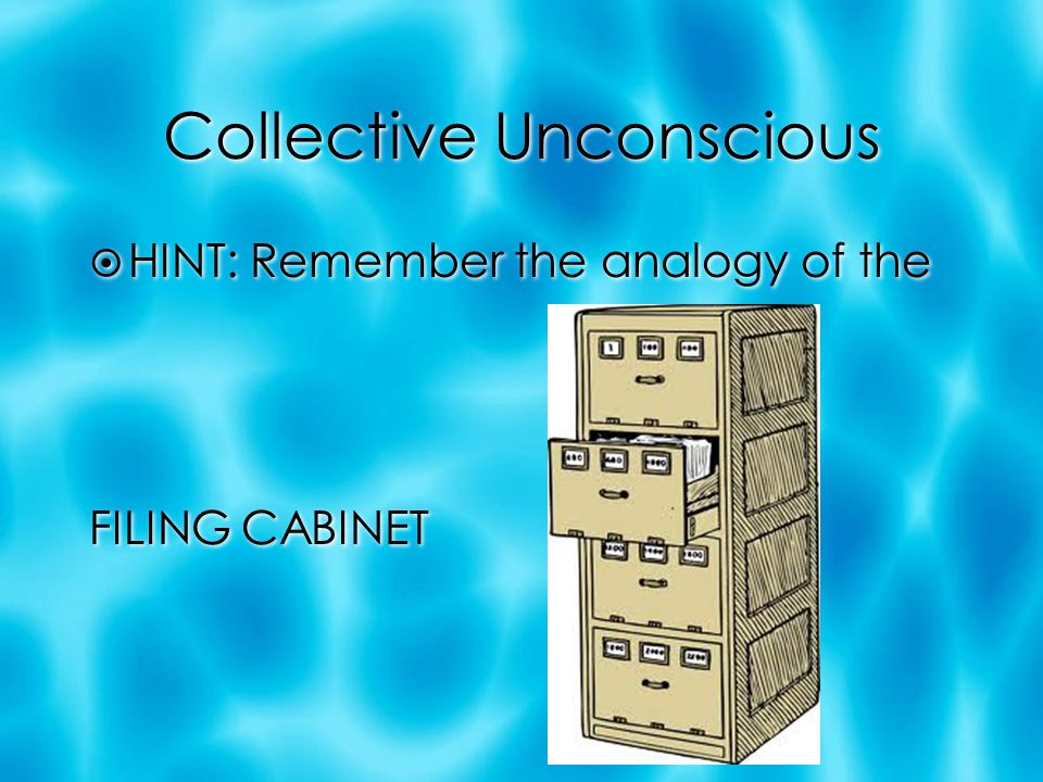 Collective Unconscious  HINT: Remember the analogy of the FILING CABINET  HINT: Remember the analogy of the FILING CABINET