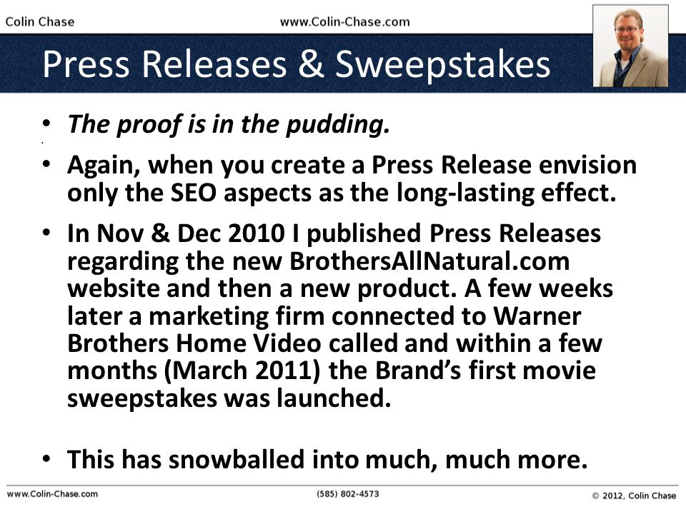 Press Releases & Sweepstakes The proof is in the pudding.