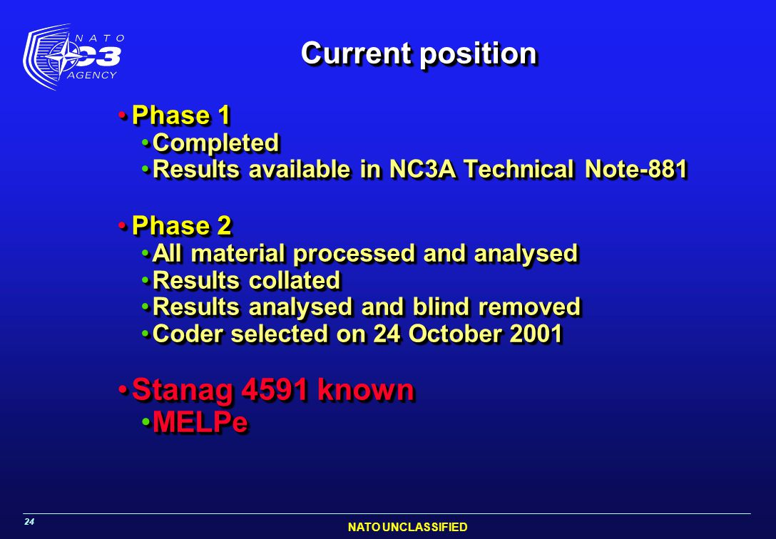 NATO UNCLASSIFIED 24 Current position Phase 1Phase 1 CompletedCompleted Results available in NC3A Technical Note-881Results available in NC3A Technical Note-881 Phase 2Phase 2 All material processed and analysedAll material processed and analysed Results collatedResults collated Results analysed and blind removedResults analysed and blind removed Coder selected on 24 October 2001Coder selected on 24 October 2001 Stanag 4591 knownStanag 4591 known MELPeMELPe Phase 1Phase 1 CompletedCompleted Results available in NC3A Technical Note-881Results available in NC3A Technical Note-881 Phase 2Phase 2 All material processed and analysedAll material processed and analysed Results collatedResults collated Results analysed and blind removedResults analysed and blind removed Coder selected on 24 October 2001Coder selected on 24 October 2001 Stanag 4591 knownStanag 4591 known MELPeMELPe