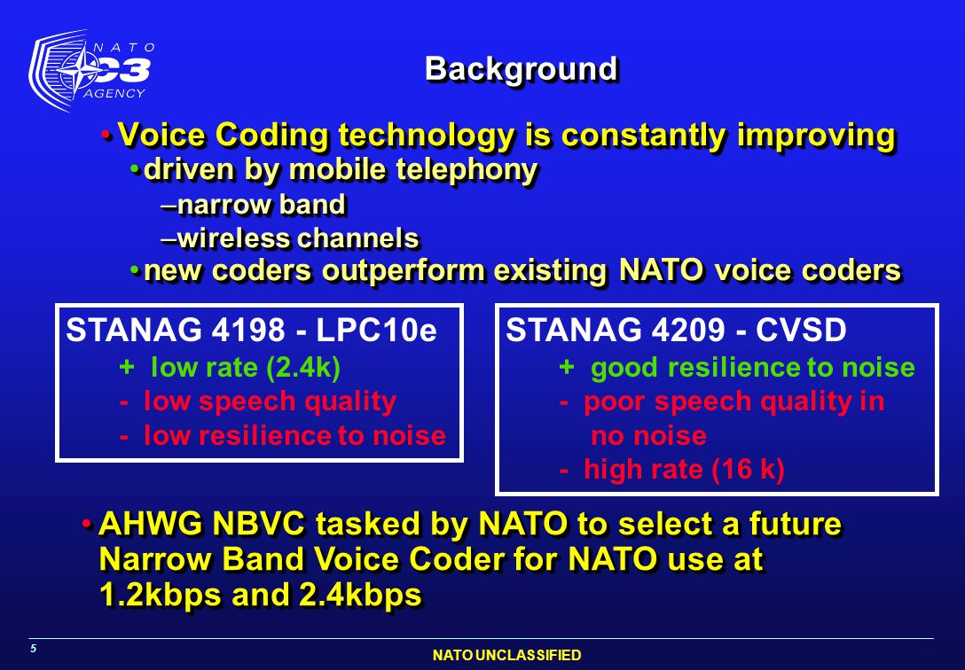 NATO UNCLASSIFIED 5 BackgroundBackground Voice Coding technology is constantly improvingVoice Coding technology is constantly improving driven by mobi