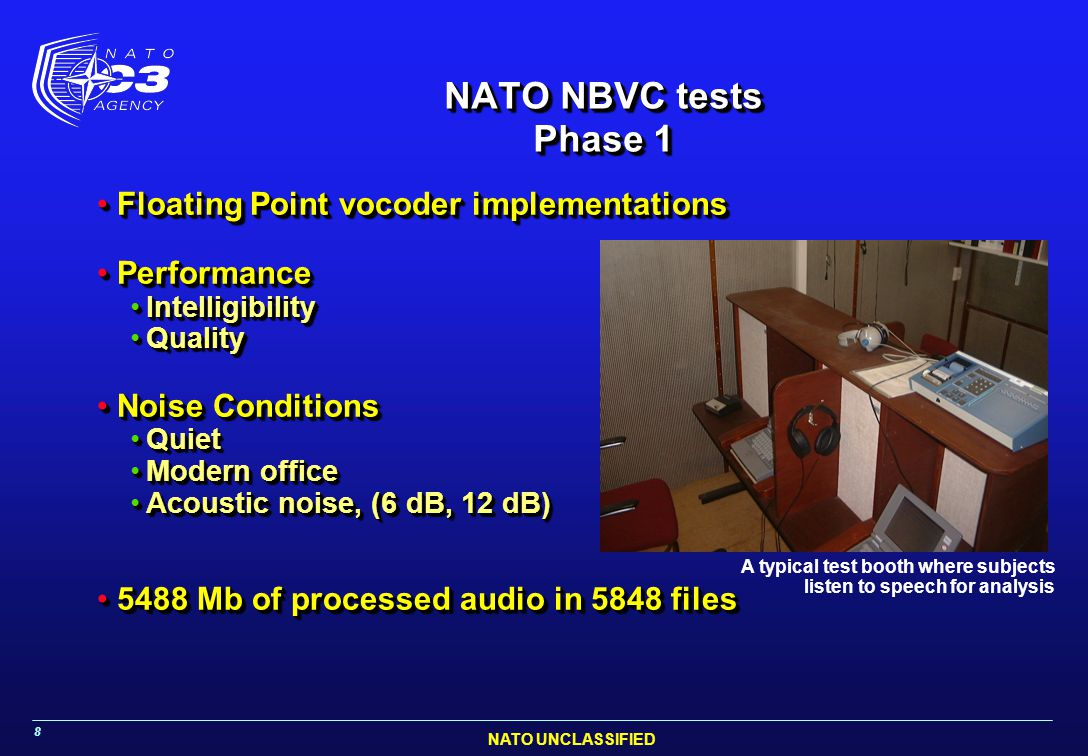 NATO UNCLASSIFIED 8 NATO NBVC tests Phase 1 Floating Point vocoder implementationsFloating Point vocoder implementations PerformancePerformance Intell