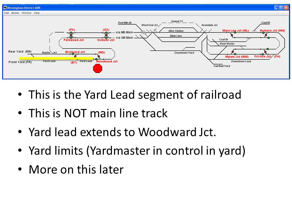 This is the Yard Lead segment of railroad This is NOT main line track Yard lead extends to Woodward Jct.