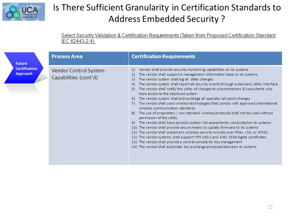 22 Certification Cont'd Select Security Validation & Certification Requirements (Taken from Proposed Certification Standard IEC 62443-2-4).