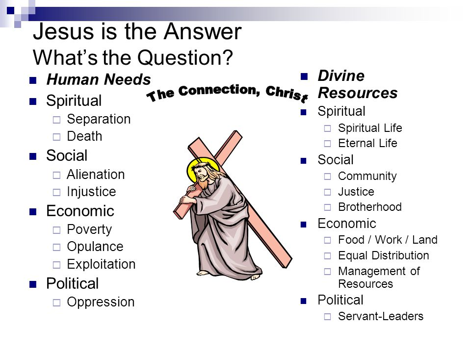 Jesus is the Answer What's the Question.