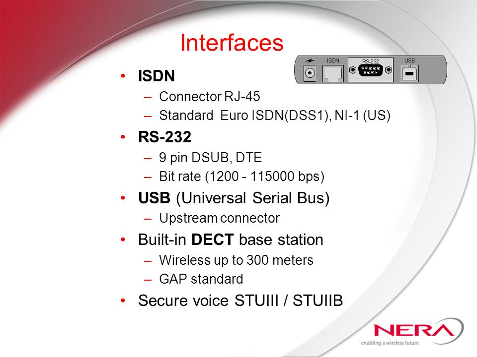 Interfaces ISDN –Connector RJ-45 –Standard Euro ISDN(DSS1), NI-1 (US) RS-232 –9 pin DSUB, DTE –Bit rate (1200 - 115000 bps) USB (Universal Serial Bus) –Upstream connector Built-in DECT base station –Wireless up to 300 meters –GAP standard Secure voice STUIII / STUIIB