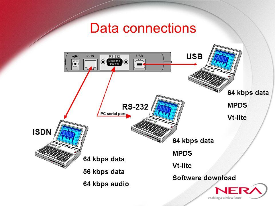 Data connections ISDN USB RS-232 64 kbps data 56 kbps data 64 kbps audio 64 kbps data MPDS Vt-lite Software download 64 kbps data MPDS Vt-lite