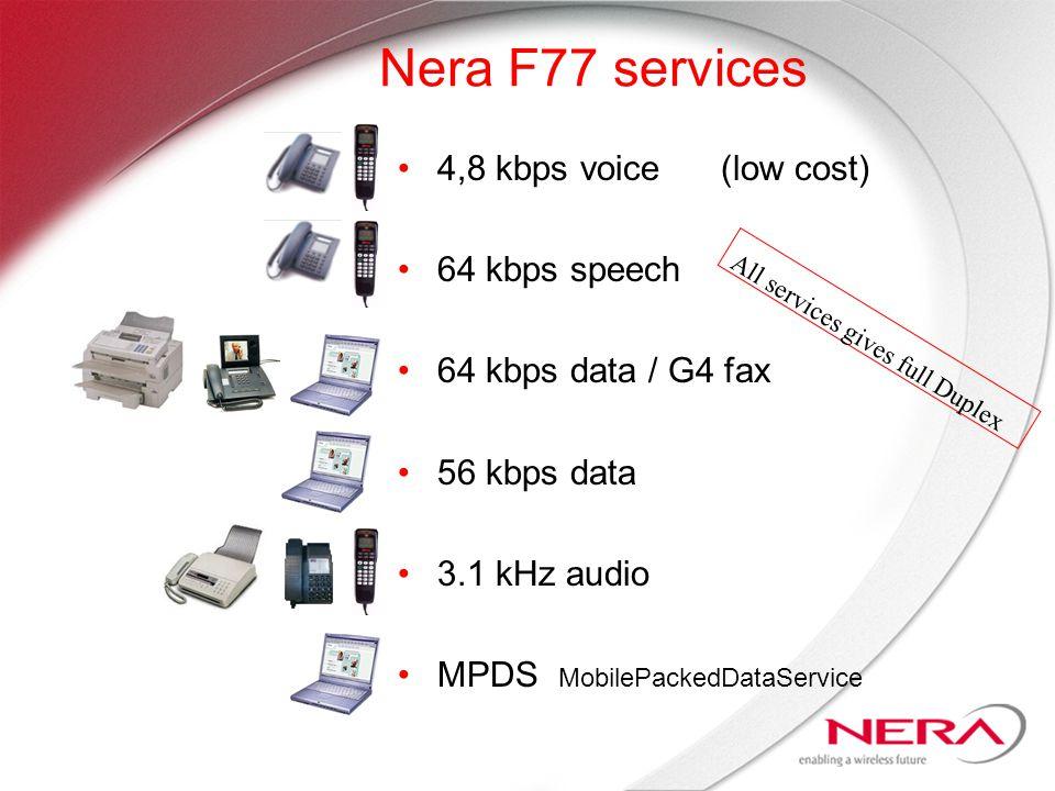 Nera F77 services 4,8 kbps voice (low cost) 64 kbps speech 64 kbps data / G4 fax 56 kbps data 3.1 kHz audio MPDS MobilePackedDataService All services gives full Duplex