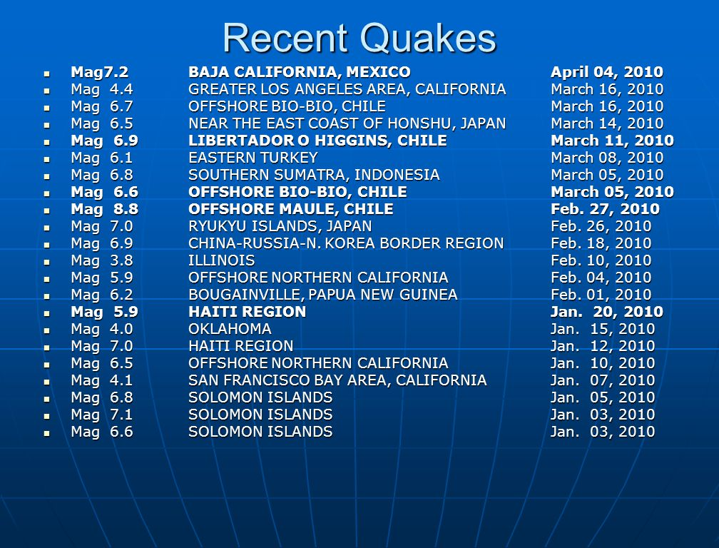 Recent Quakes Mag7.2 BAJA CALIFORNIA, MEXICO April 04, 2010 Mag7.2 BAJA CALIFORNIA, MEXICO April 04, 2010 Mag 4.4 GREATER LOS ANGELES AREA, CALIFORNIA March 16, 2010 Mag 4.4 GREATER LOS ANGELES AREA, CALIFORNIA March 16, 2010 Mag 6.7 OFFSHORE BIO-BIO, CHILE March 16, 2010 Mag 6.7 OFFSHORE BIO-BIO, CHILE March 16, 2010 Mag 6.5 NEAR THE EAST COAST OF HONSHU, JAPAN March 14, 2010 Mag 6.5 NEAR THE EAST COAST OF HONSHU, JAPAN March 14, 2010 Mag 6.9 LIBERTADOR O HIGGINS, CHILE March 11, 2010 Mag 6.9 LIBERTADOR O HIGGINS, CHILE March 11, 2010 Mag 6.1 EASTERN TURKEY March 08, 2010 Mag 6.1 EASTERN TURKEY March 08, 2010 Mag 6.8 SOUTHERN SUMATRA, INDONESIA March 05, 2010 Mag 6.8 SOUTHERN SUMATRA, INDONESIA March 05, 2010 Mag 6.6 OFFSHORE BIO-BIO, CHILE March 05, 2010 Mag 6.6 OFFSHORE BIO-BIO, CHILE March 05, 2010 Mag 8.8 OFFSHORE MAULE, CHILE Feb.