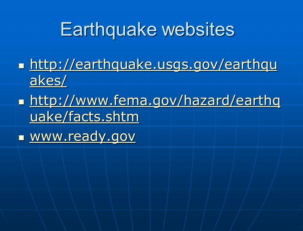 Earthquake websites http://earthquake.usgs.gov/earthqu akes/ http://earthquake.usgs.gov/earthqu akes/ http://earthquake.usgs.gov/earthqu akes/ http://