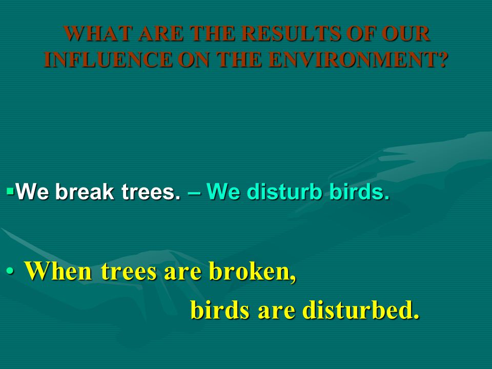 WHAT ARE THE RESULTS OF OUR INFLUENCE ON THE ENVIRONMENT? When litter is left in the forests,When litter is left in the forests, animals are hurt. ani
