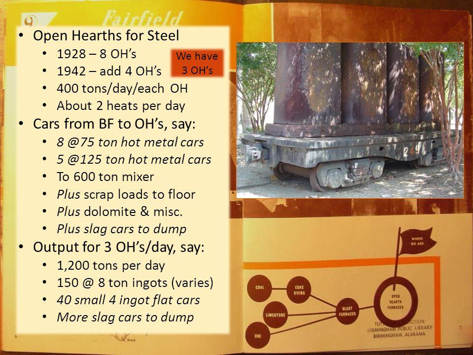 Blast furnaces for iron (BF's) 1928 - #5, #6 1942 - #7 1000 tons/day/BF (by 1950's) Recipe per 1 ton iron 2.5 tons iron ore 1 ton coke ½ ton dolomite