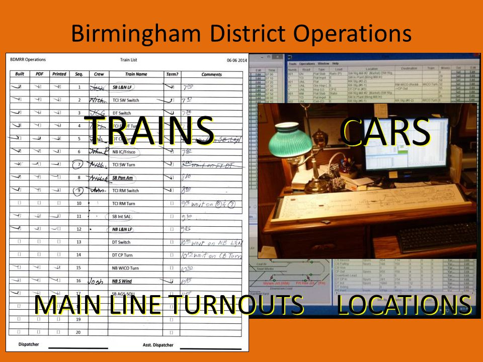 Birmingham District MRR Passenger Trains Interchange Trains Material Trains Sequence of material trains varies depending on need for materials at time