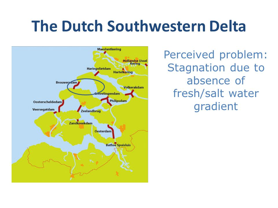 The Dutch Southwestern Delta Perceived problem: Stagnation due to absence of fresh/salt water gradient