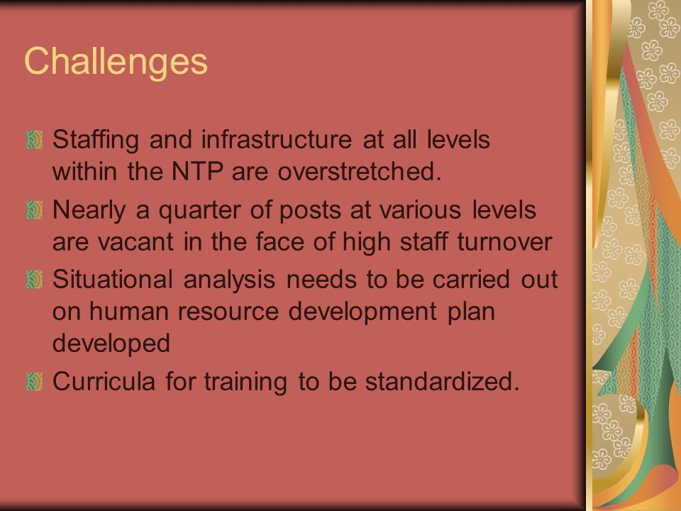 Challenges Staffing and infrastructure at all levels within the NTP are overstretched. Nearly a quarter of posts at various levels are vacant in the f