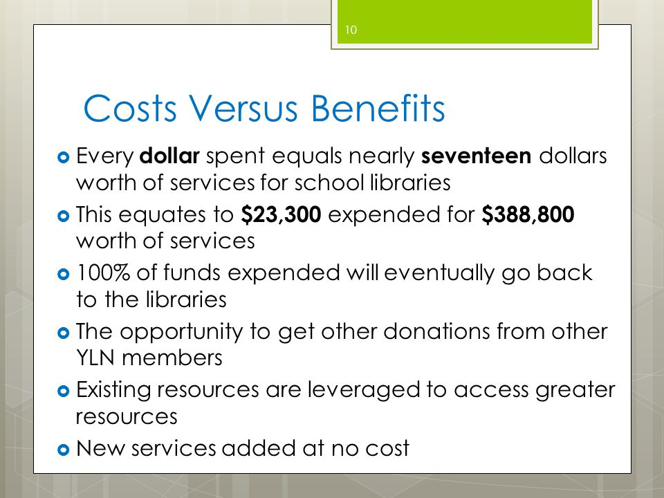 Costs Versus Benefits  Every dollar spent equals nearly seventeen dollars worth of services for school libraries  This equates to $23,300 expended for $388,800 worth of services  100% of funds expended will eventually go back to the libraries  The opportunity to get other donations from other YLN members  Existing resources are leveraged to access greater resources  New services added at no cost 10