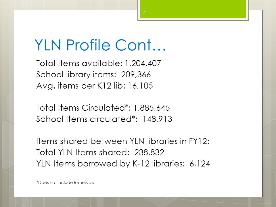 YLN Library Services Integrated Library System (ILS) Administration and support  Access to the most popular enterprise- class ILS  24x7 support  3 dedicated staff members  Regular updates/upgrades applied off- hours  Purchase of a new ILS included in membership  Data center designed to maximize uptime 5
