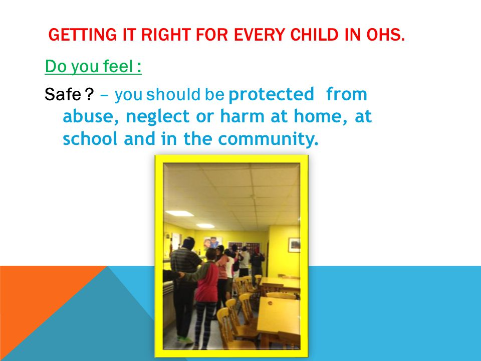 GETTING IT RIGHT FOR EVERY CHILD IN OHS. Do you feel : Safe ? – you should be protected from abuse, neglect or harm at home, at school and in the comm