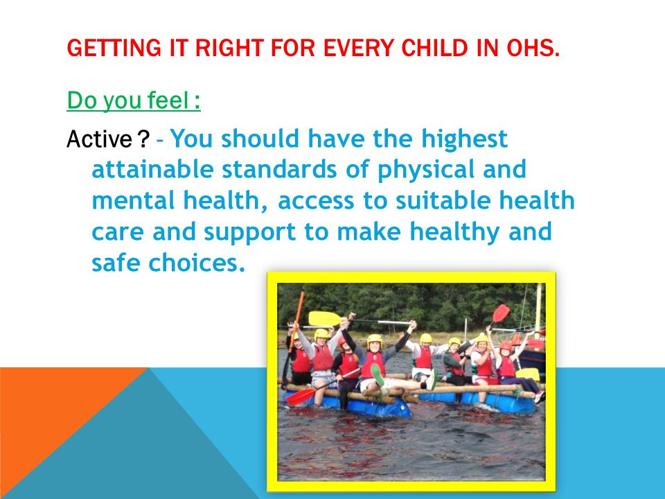 GETTING IT RIGHT FOR EVERY CHILD IN OHS.Do you feel : Nurtured .