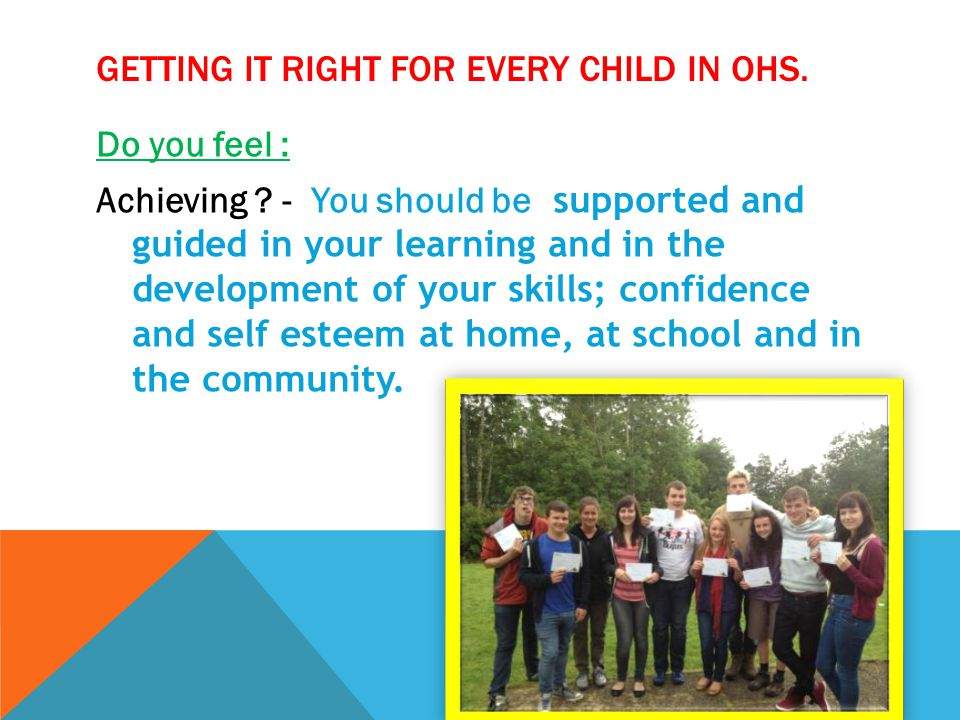 GETTING IT RIGHT FOR EVERY CHILD IN OHS.Do you feel : Respected.