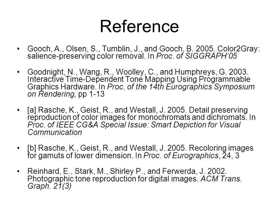 Reference Gooch, A., Olsen, S., Tumblin, J., and Gooch, B. 2005. Color2Gray: salience-preserving color removal. In Proc. of SIGGRAPH'05 Goodnight, N.,