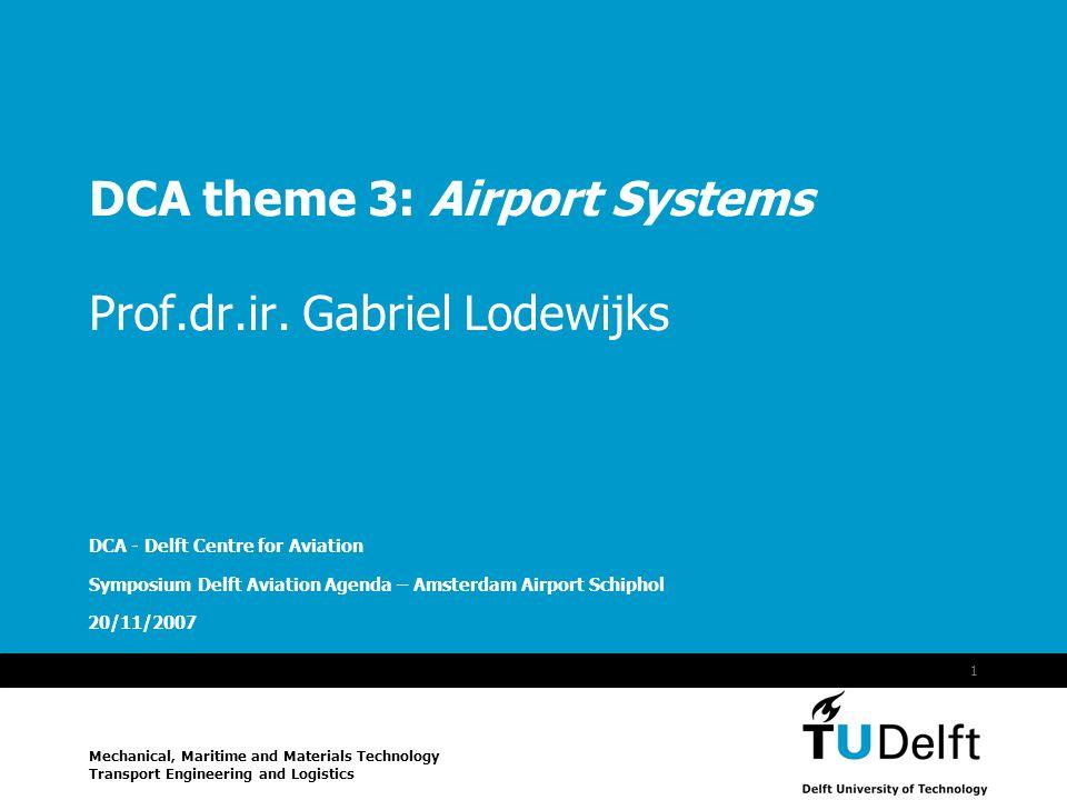 Vermelding onderdeel organisatie 20/11/2007 1 DCA theme 3: Airport Systems Prof.dr.ir.