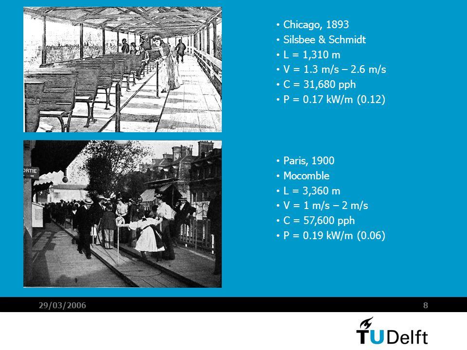 29/03/20068 Chicago, 1893 Silsbee & Schmidt L = 1,310 m V = 1.3 m/s – 2.6 m/s C = 31,680 pph P = 0.17 kW/m (0.12) Paris, 1900 Mocomble L = 3,360 m V = 1 m/s – 2 m/s C = 57,600 pph P = 0.19 kW/m (0.06)