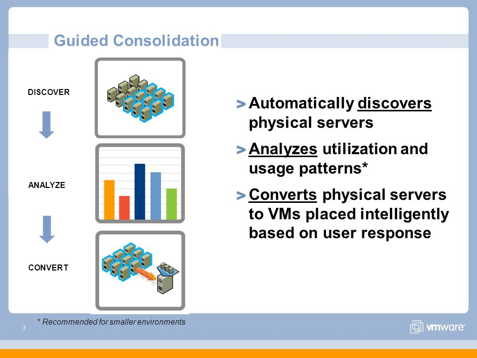 7 Guided Consolidation Automatically discovers physical servers Analyzes utilization and usage patterns* Converts physical servers to VMs placed intelligently based on user response ANALYZE CONVERT DISCOVER * Recommended for smaller environments