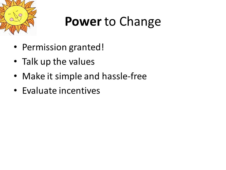 Power to Change Permission granted.