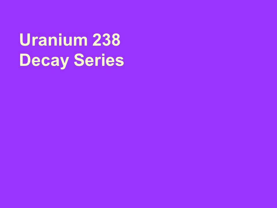 Element: Symbol: Atomic Number: Atomic Mass: Decay Particle: Half Life: Uranium U 92 238 Alpha 4.5x10 yrs 9