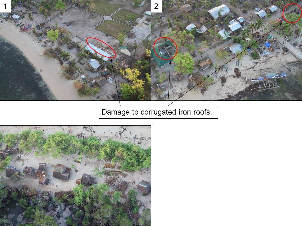 12 Damage to corrugated iron roofs.