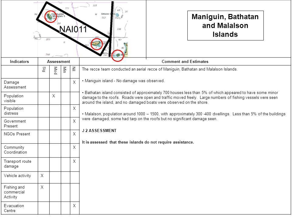 IndicatorsAssessmentComment and Estimates SigModMinNil The recce team conducted an aerial recce of Maniguin, Bathatan and Malalson Islands.