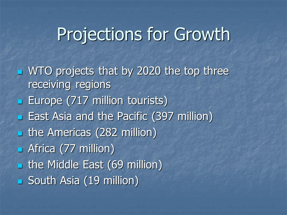 Projections for Growth WTO projects that by 2020 the top three receiving regions WTO projects that by 2020 the top three receiving regions Europe (717 million tourists) Europe (717 million tourists) East Asia and the Pacific (397 million) East Asia and the Pacific (397 million) the Americas (282 million) the Americas (282 million) Africa (77 million) Africa (77 million) the Middle East (69 million) the Middle East (69 million) South Asia (19 million) South Asia (19 million)