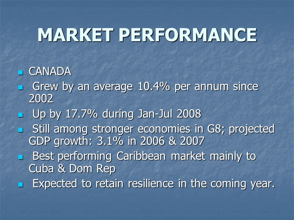 MARKET PERFORMANCE CANADA CANADA Grew by an average 10.4% per annum since 2002 Grew by an average 10.4% per annum since 2002 Up by 17.7% during Jan-Jul 2008 Up by 17.7% during Jan-Jul 2008 Still among stronger economies in G8; projected GDP growth: 3.1% in 2006 & 2007 Still among stronger economies in G8; projected GDP growth: 3.1% in 2006 & 2007 Best performing Caribbean market mainly to Cuba & Dom Rep Best performing Caribbean market mainly to Cuba & Dom Rep Expected to retain resilience in the coming year.