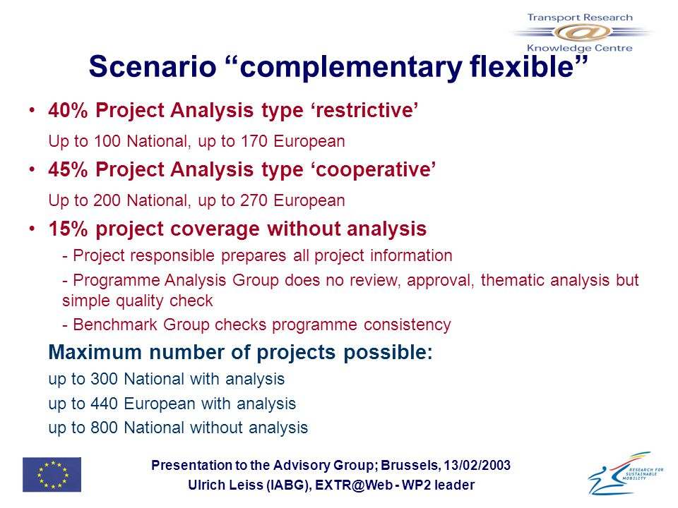 Presentation to the Advisory Group; Brussels, 13/02/2003 Ulrich Leiss (IABG), EXTR@Web - WP2 leader Scenario complementary flexible 40% Project Analysis type 'restrictive' Up to 100 National, up to 170 European 45% Project Analysis type 'cooperative' Up to 200 National, up to 270 European 15% project coverage without analysis - Project responsible prepares all project information - Programme Analysis Group does no review, approval, thematic analysis but simple quality check - Benchmark Group checks programme consistency Maximum number of projects possible: up to 300 National with analysis up to 440 European with analysis up to 800 National without analysis