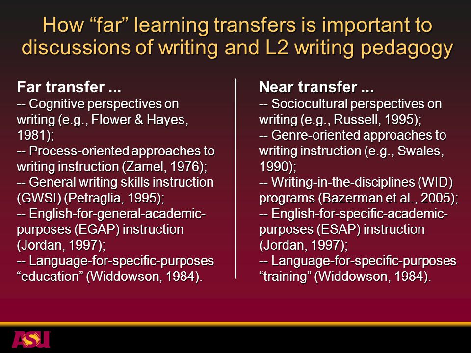 Future directions.How can we most effectively identify learning transfer.