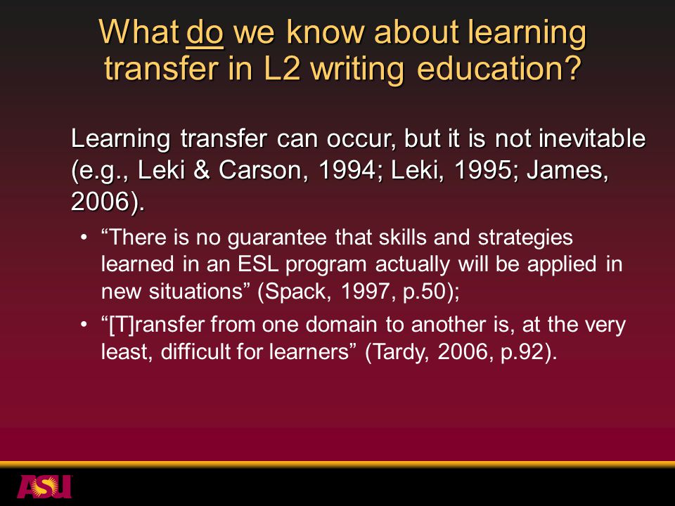 Summary of study 1 Learning in the EGAP writing course did transfer to other courses.