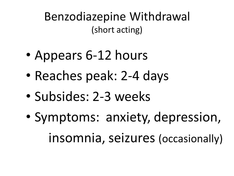 Potential Problems with Benzos Cognitive impairment Sedation Balance and coordination Addiction Dependency Discontinuation withdrawal