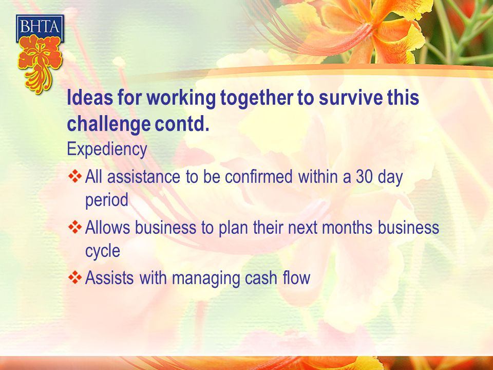 Ideas for working together to survive this challenge contd.